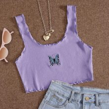 Butterfly Embroidered Rib-Knit Lettuce Trim Tank Top