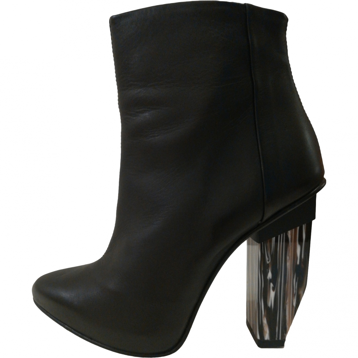 Miista \N Black Leather Ankle boots for Women 36 EU