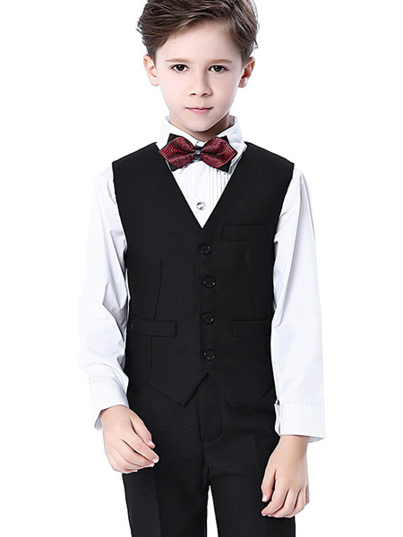 Milanoo Trajes de portador de anillo Manga larga de algodon Camisa con corbata Chaleco Pantalones Trajes de fiesta blancos formales 4pcs