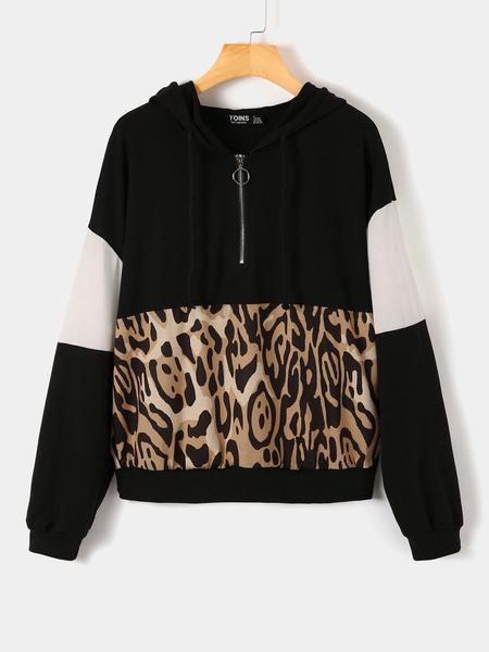 Yoins Black Patchwork Long Sleeves Leopard Hoodie