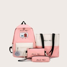 4pcs Colorblock Backpack With Pencil Case