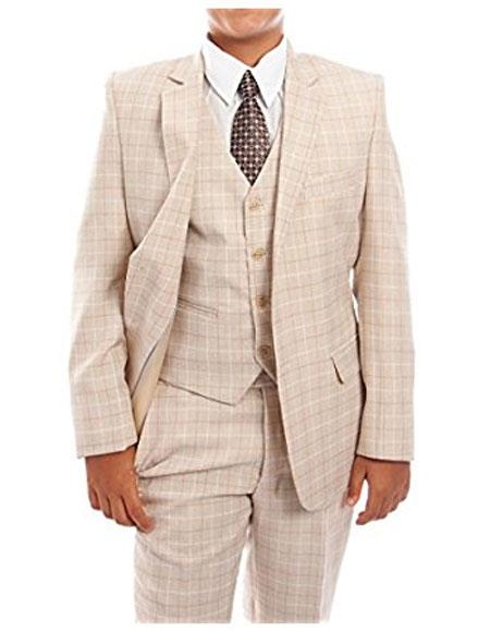 Boys 3-Piece Check Tuxedo Taupe Suit Set With Matching Shirt & Tie