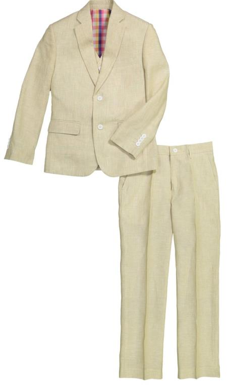 Mens Single Chest Pocket Flap Lapel Tan Linen Suit And Pant