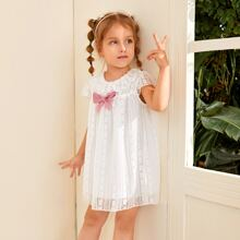 Toddler Girls Bow Front Ruffle Lace Dress