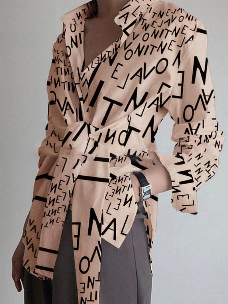 Ericdress Print Lapel Letter Mid-Length Long Sleeve Blouse