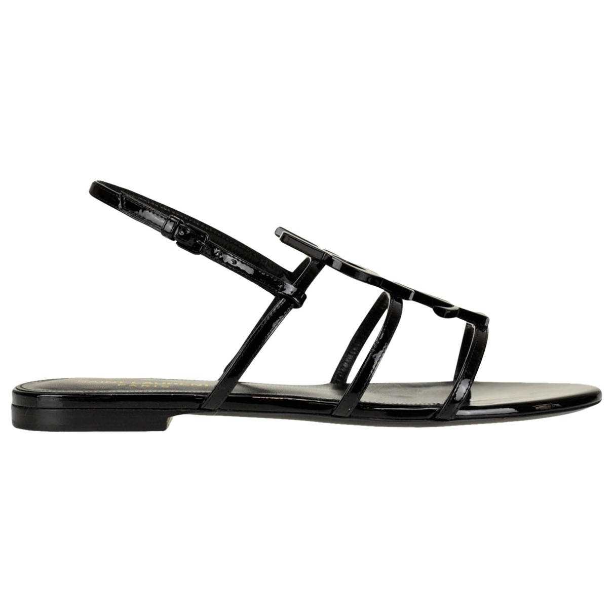 Saint Laurent Cassandra Black Patent leather Sandals for Women 37 IT