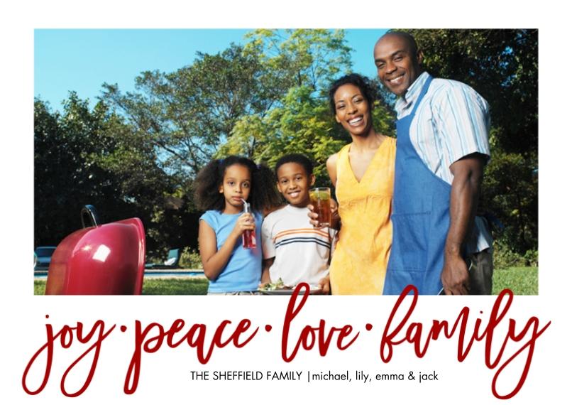 Christmas Photo Cards 5x7 Cards, Premium Cardstock 120lb, Card & Stationery -Christmas Joy Peace Love Family by Tumbalina