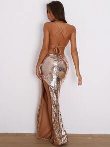 Lace Up Backless Split Thigh Sequin Cami Prom Dress