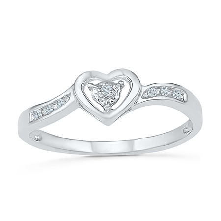 Promise My Love Womens Diamond Accent Genuine White Diamond 10K Gold Heart Promise Ring, 4 , No Color Family