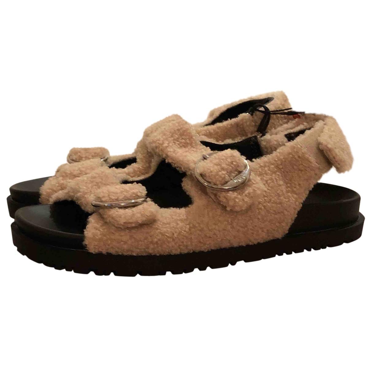 Zara \N Sandalen in  Beige Synthetikpelz