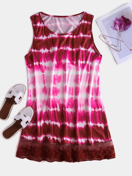 Yoins Plus Size Red Tie-Dye Ombre Lace Hem Sleeveless Dress