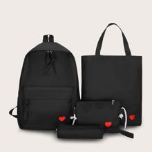 4 piezas set de bolsa con patron de corazon con estuche