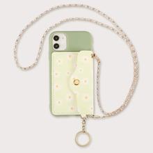 1 Stueck iPhone Etui mit Geldborse, Kette Detail und Blumen Muster
