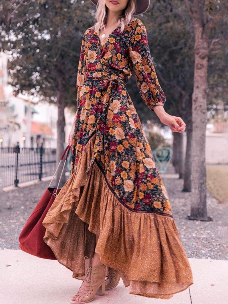 Ericdress Print Floor-Length V-Neck Pullover Asymmetrical Dress