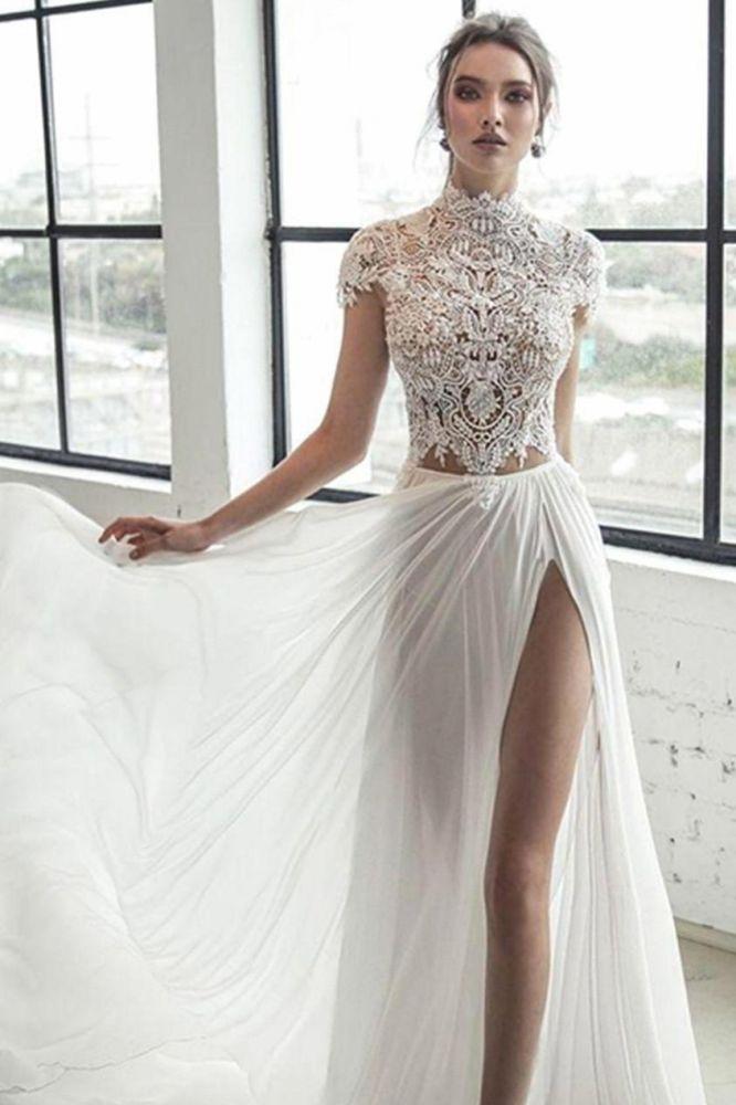 High Neck Fluegelaermel Elfenbein Chiffon Split Brautkleid   Elegantes langes Brautkleid
