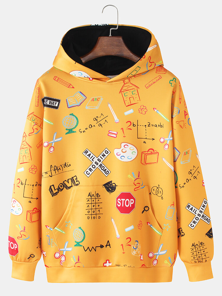Mens Funny Letter Pattern Art Print Loose Casual Pullover Hoodies With Kangaroo Pocket