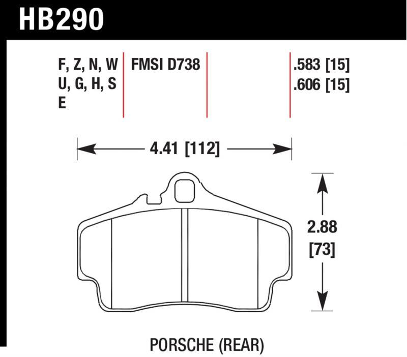 Hawk Performance HB290G.583 Disc Brake Pad Porsche Rear