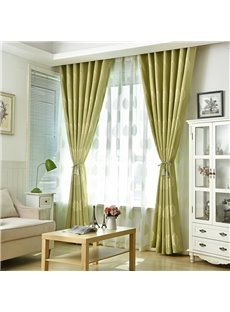 Light Green Leaf Natural Style Bedroom Curtain