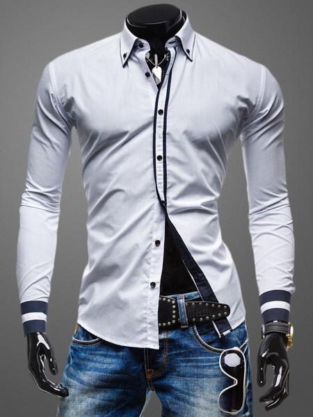 Milanoo Turndown Collar Long Sleeves Shaping Cotton Casual Shirt