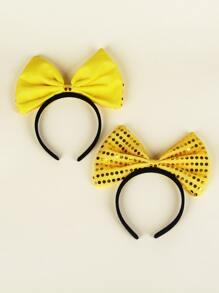 2pcs Toddler Girls Bow Decor Hair Hoop