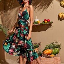 Slip Kleid mit tropischem Muster, Kreuzgurt hinten und tiefem Ausschnitt