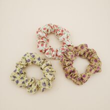 3pcs Flower Pattern Scrunchie