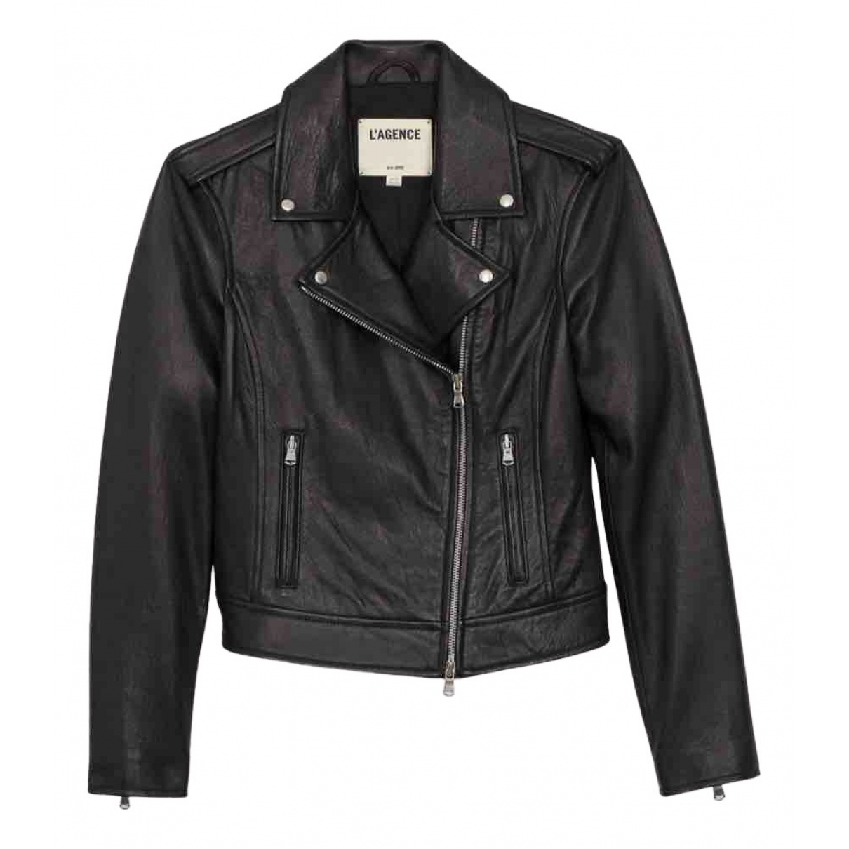 L'agence N Black Leather Leather jacket for Women S International