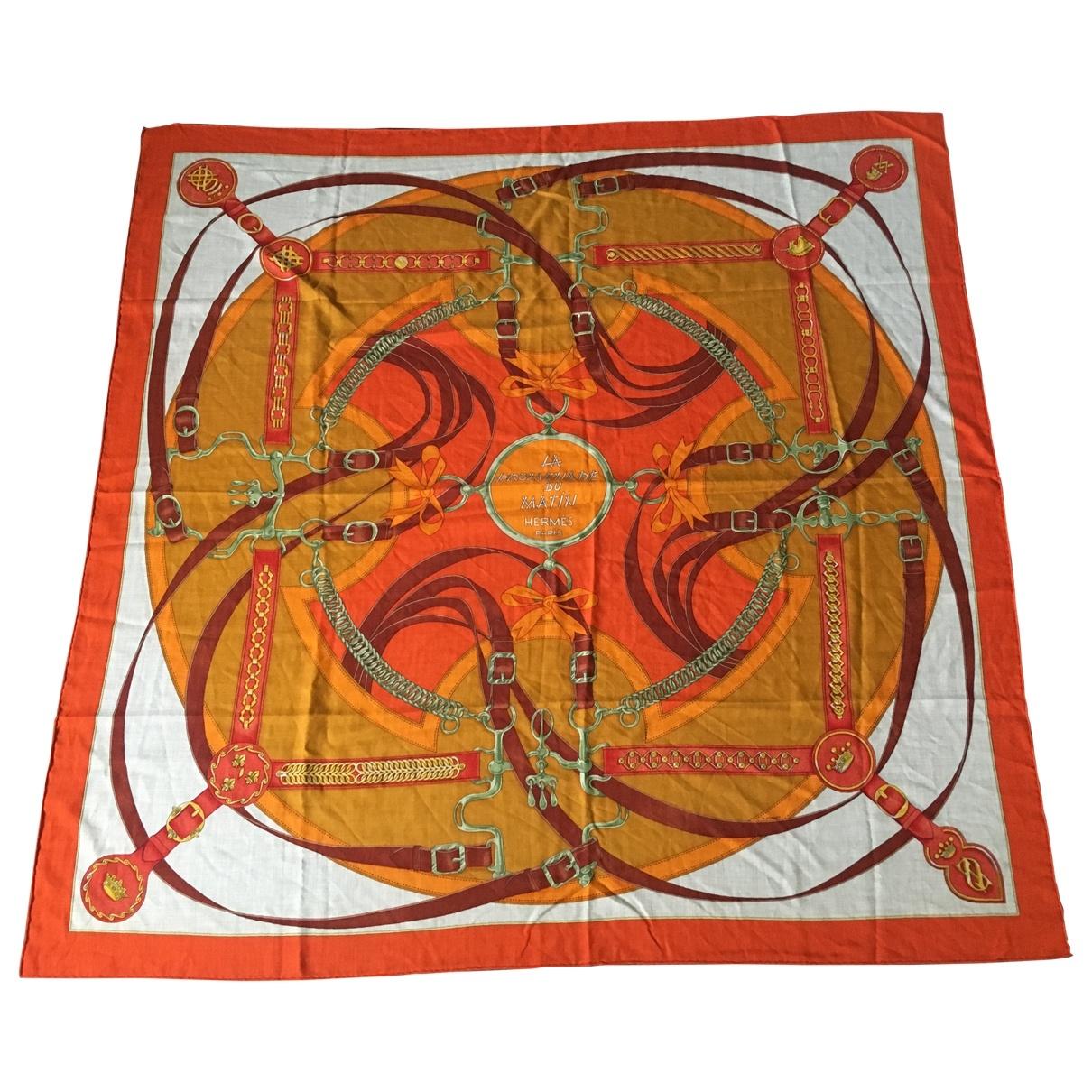 Hermès Châle 140 Orange Cashmere scarf for Women \N