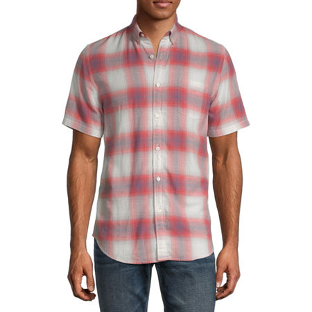 Arizona Mens Short Sleeve Plaid Button-Down Shirt, X-large , Red