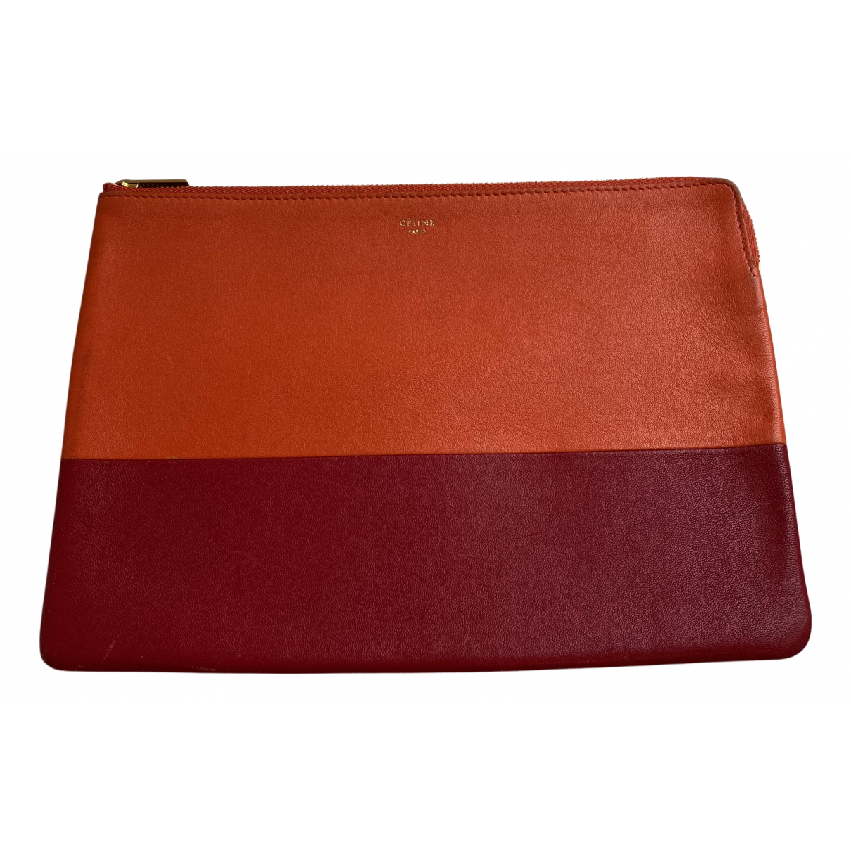 Celine \N Clutch in  Orange Leder