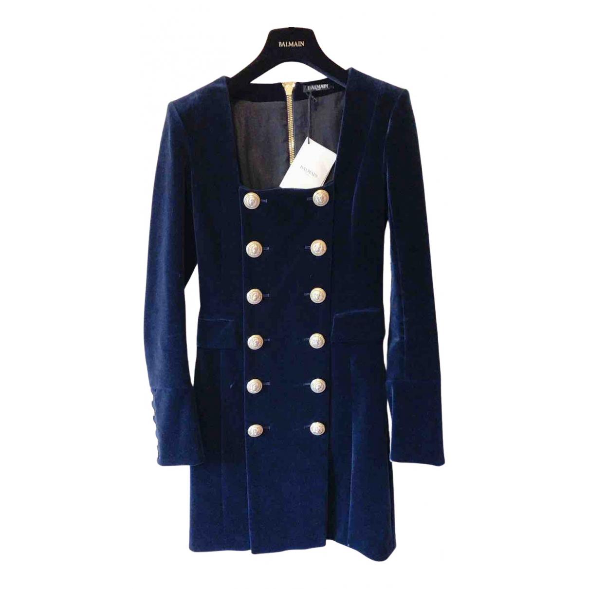 Balmain \N Kleid in  Marine Baumwolle