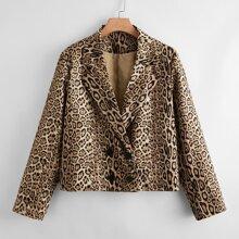 Crop Blazer mit Leopard Muster und zweireihigen Knopfen