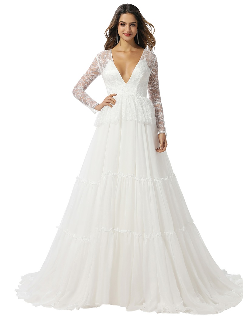 Ericdress Sweep/Brush Tiered A-Line Floor-Length Church Wedding Dress 2020