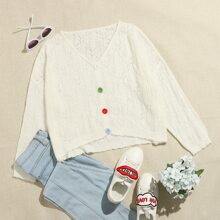 Plus Button Front Pointelle Knit Sweater