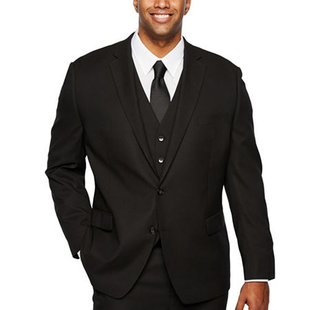 Shaquille ONeal XLG Black Stretch Suit Jacket - Big and Tall, 56 Big Regular, Black