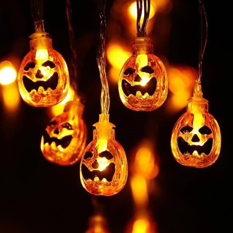 USB Charging Halloween Party Horror Props LED Halloween Pumpkin Lantern