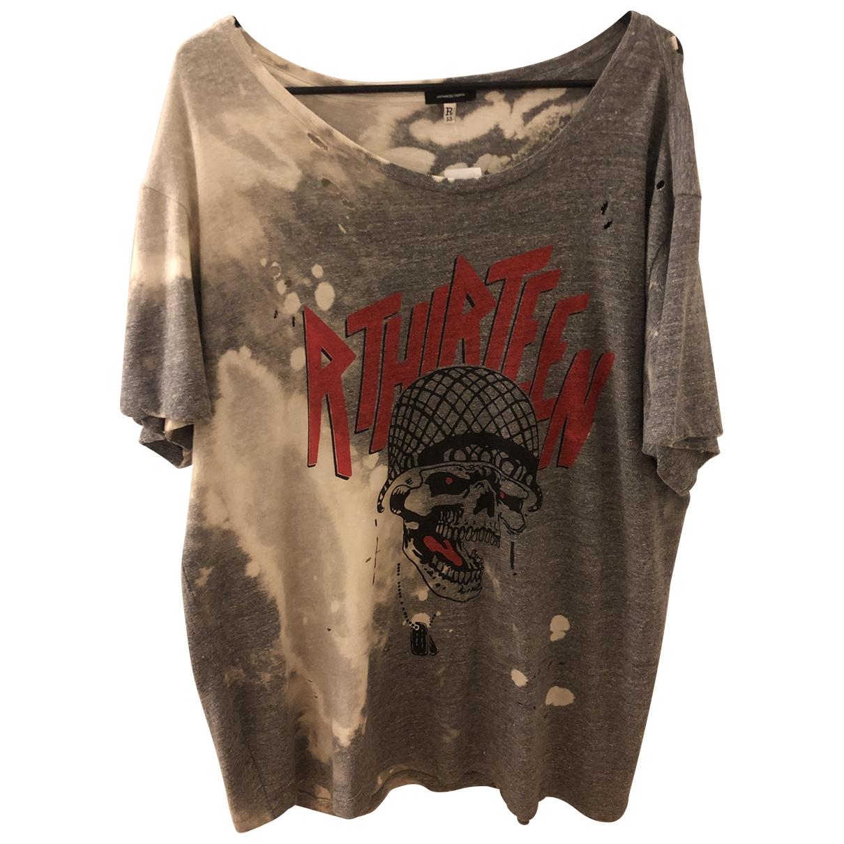 R13 - Tee shirts   pour homme en coton - gris