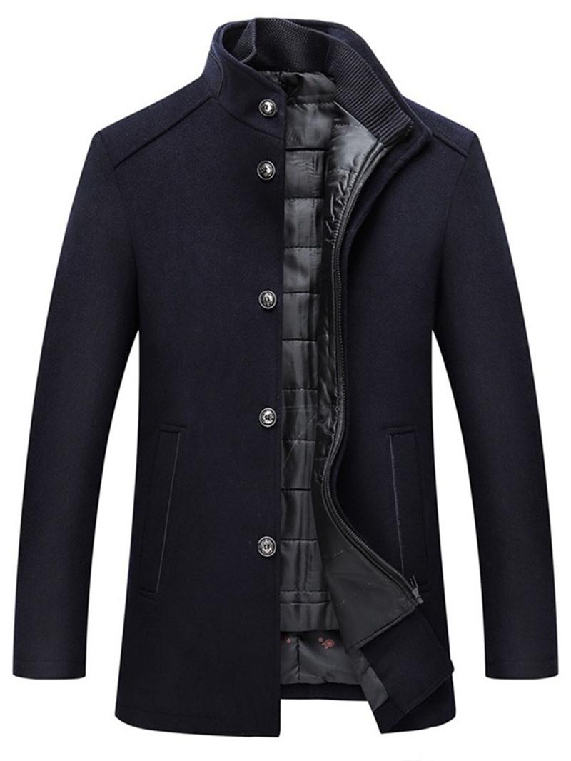 Ericdress Plain Stand Collar Standard Slim Casual Coat