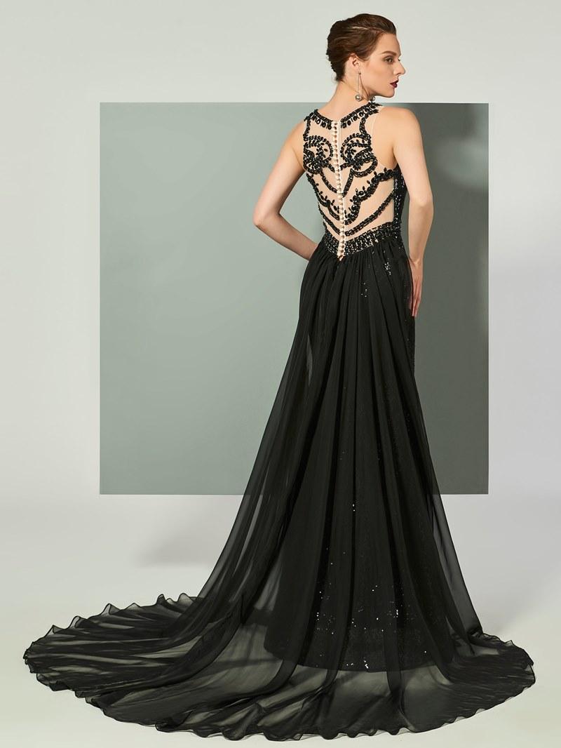 Ericdress Jewel Neck Sequin Beaded Mermaid Evening Dress With Sweep Train