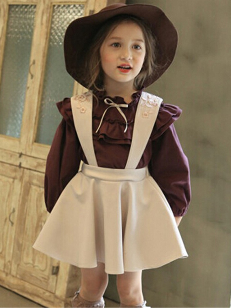 Ericdress Cute Plain Shirt & Suspenders Skirt Girl's Outfit