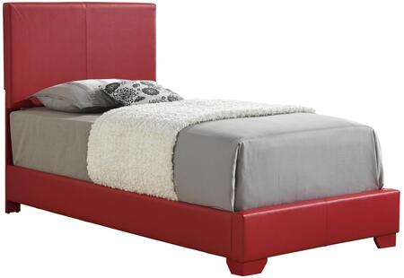 Aaron Collection G1825-TB-UP Twin Size Panel Bed with Wood Construction and Faux Leather Upholstery in Red