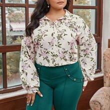Bluse mit Laternenaermeln und Blumen Muster