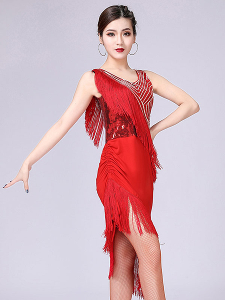 Milanoo Flamenco Dresses Girls Red Black Layered Mesh Dance Costumes Adults Spanish Dancer Latin Ballroom Skirt Off Shoulder Paso Doble Wears Outfit H