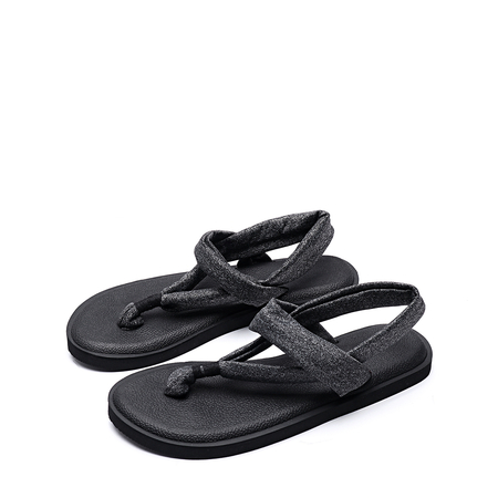 Yoins  Casual Solid Color Flat Thong Sandals in Black