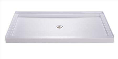 DLT-1136600 Slimline 36 In. D X 60 In. W X 2 3/4 In. H Center Drain Single Threshold Shower Base In