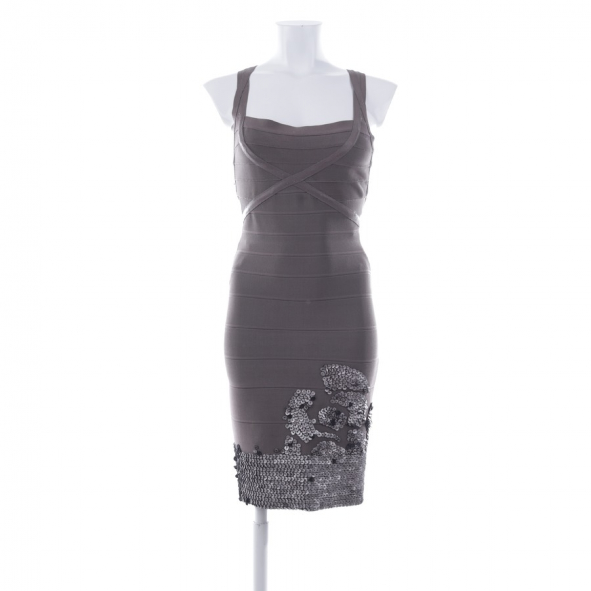 Herve Leger \N Kleid in  Braun Synthetik