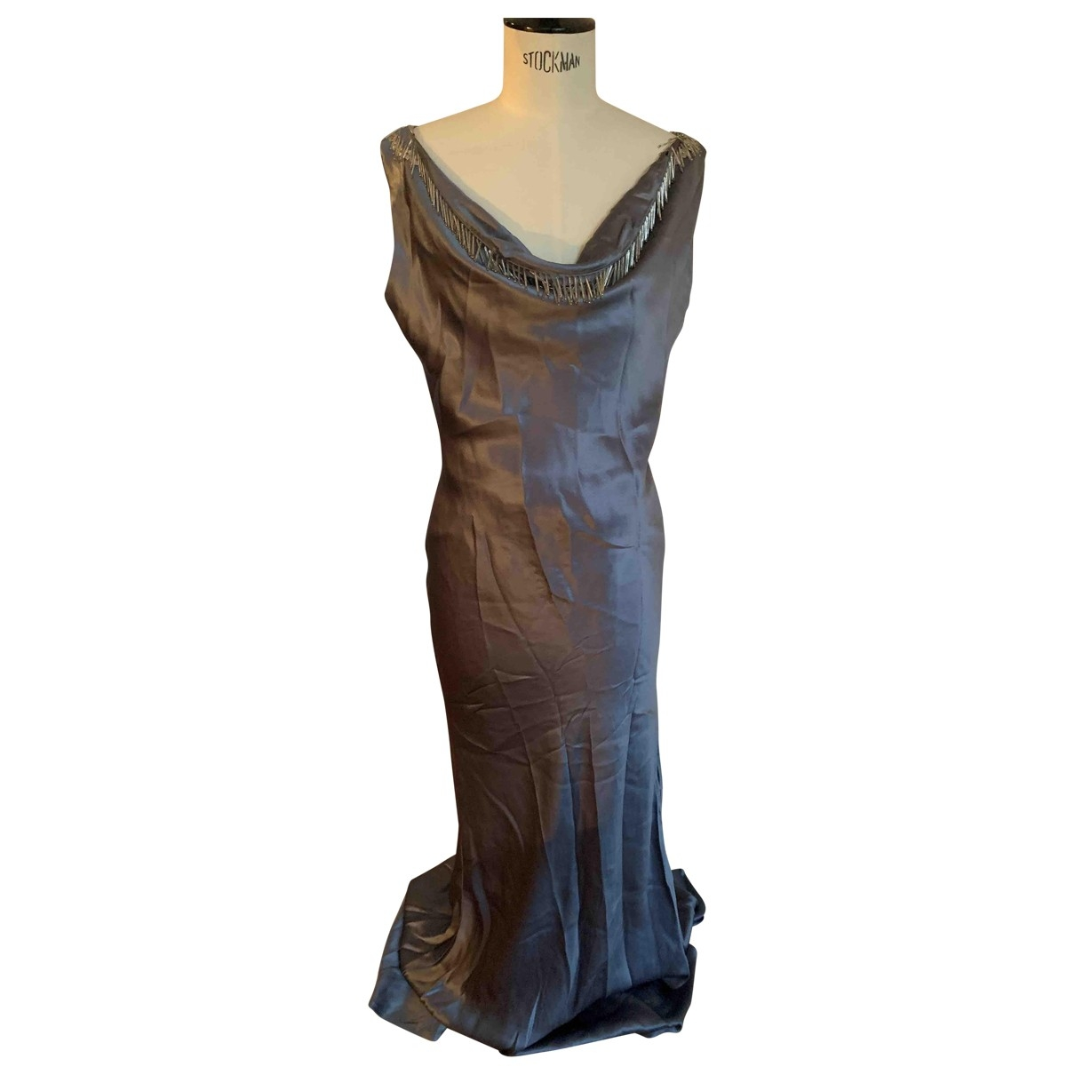 Alexander Mcqueen \N Anthracite Silk dress for Women 44 IT