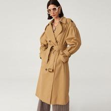 Langer Baumwolle Mantel mit Guertel