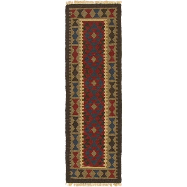 Hand Woven Kilim Maymana Wool Runner Rug - 1' 10 x 6' (Red - 1' 10 x 6')