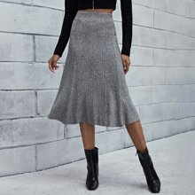 Solid Elastic Waist Ribbed Knit Skirt